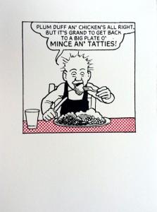 John Patrick Reynolds_Comic Art_Oor wullie Eats Mince n Tatties