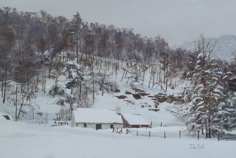 John Bell_Cottage, Loch an Eilein, Rothiemurchus_Acrylics_12x18