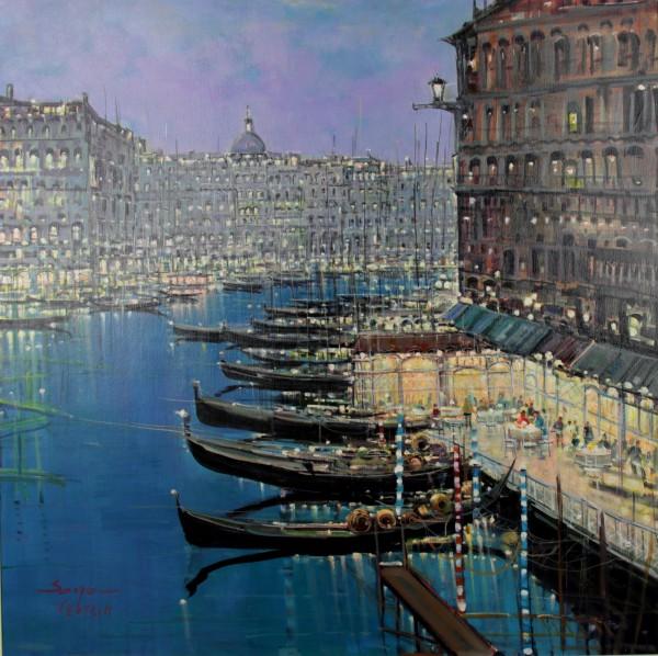 Mario Sanzone_Evening Gondolas, Venice_Oils_39x39