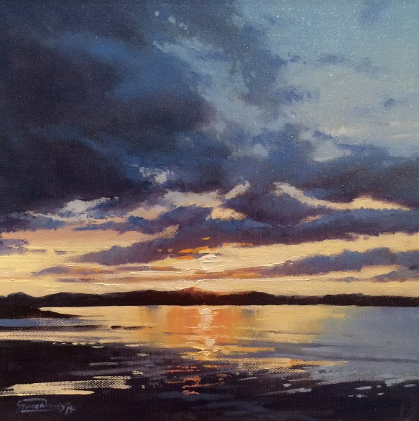 George Noakes_Sunset, Tay Estuary II_Oils_12x12