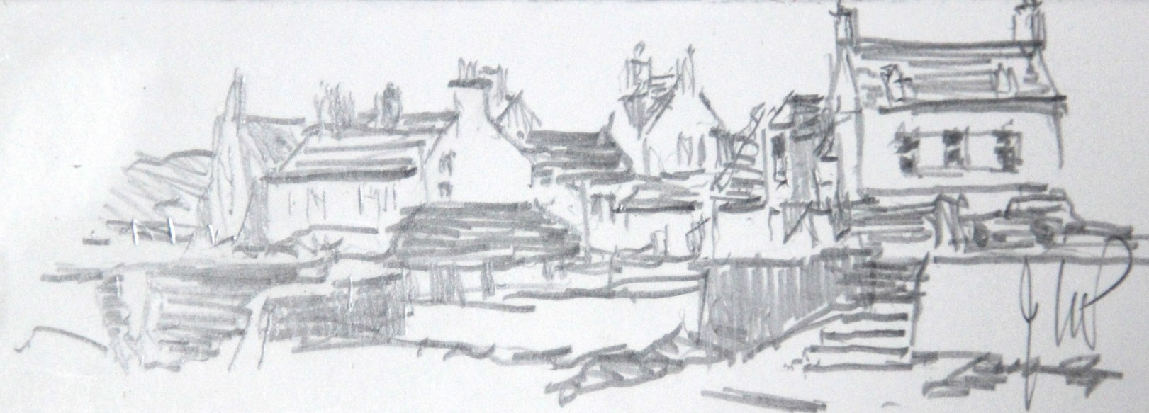 James McIntosh Patrick OBE RSA (1907-98)_Sketch of Beach Crescent (Broughty Ferry)_Pencil_Initialled JMP_1.5x4