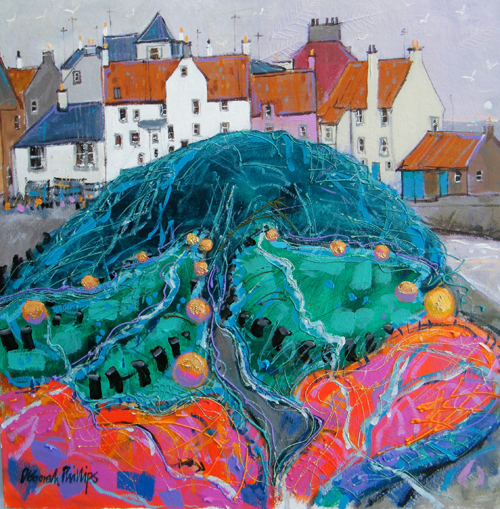 Deborah Phillips_After the Catch, Pittenweem_Hand Embellished Signed Limited Edition_15x15