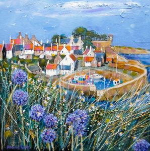 Deborah Phillips_Clifftop Allium, Crail_Hand Embellished Signed Limited Edition_15x15