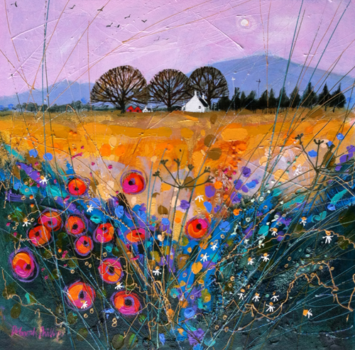 Deborah Phillips_Late Harvest Poppies_Hand Embellished Signed Limited Edition_15x15