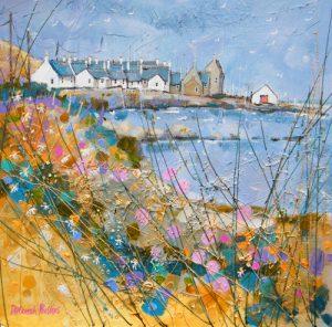 Deborah Phillips_Wheeling Gulls over Sandend_Hand Embellished Signed Limited Edition_15x15
