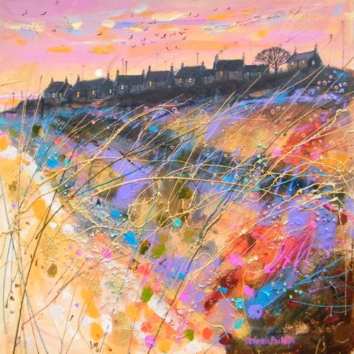 Deborah Phillips_Winter Sunset Ballyhornan Beach_Hand Embellished Signed Limited Edition_15x15