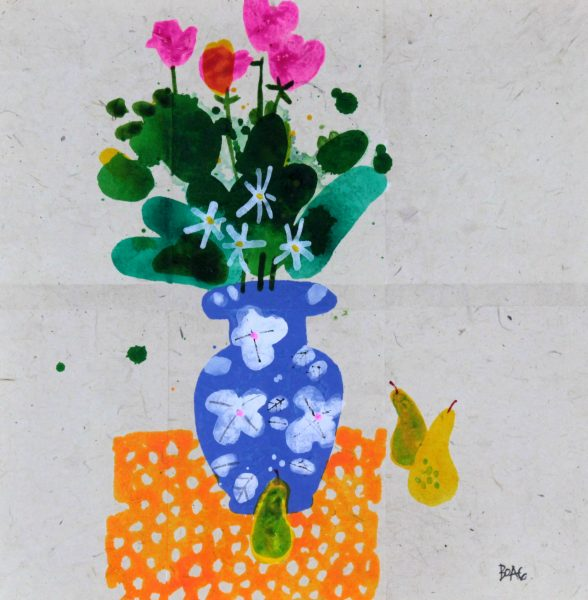 Frances Boag_Pink Tulips and Pears_Mixed Media_21.5x21