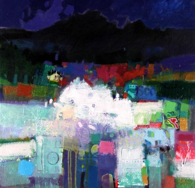 Frances Boag_Winter Cuillins, Isle of Skye_Mixed Media_31x31