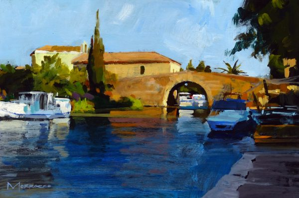 47. The Bridge at Le Somail, Early Morning (study)_Acrylic on Board_8x12