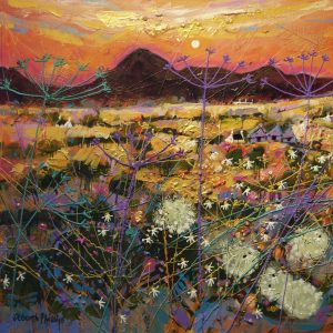 Deborah Phillips_Hot Fiery Sunset_Hand Embellished Signed Limited Edition_15x15
