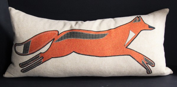 Tweed and Linen Fox Cushion Cream