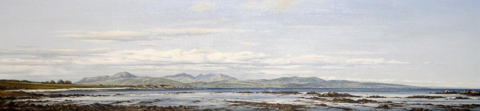 Ian Johnstone_Arran from Saddell Bay, Kintyre_Oils_6.5x28