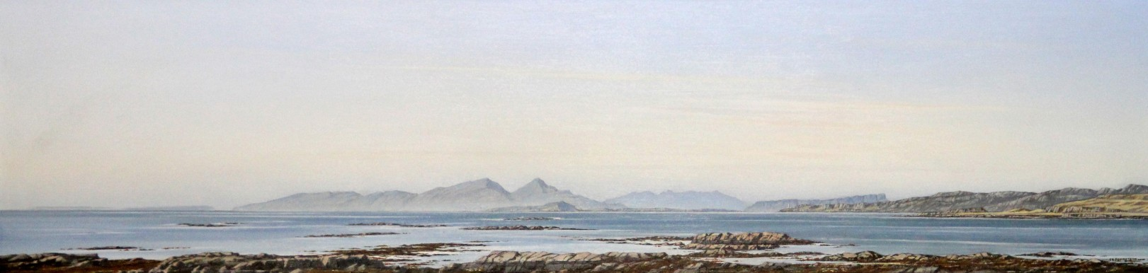Ian Johnstone_Rum, Skye and Eigg from Mornish, Mull_Oils_7x26