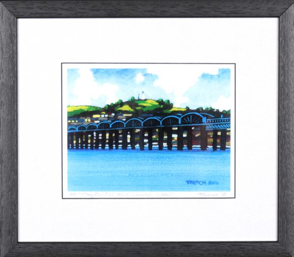 Stephen French_Tay Bridge & Dundee Law_10.5 x 12_Framed Print