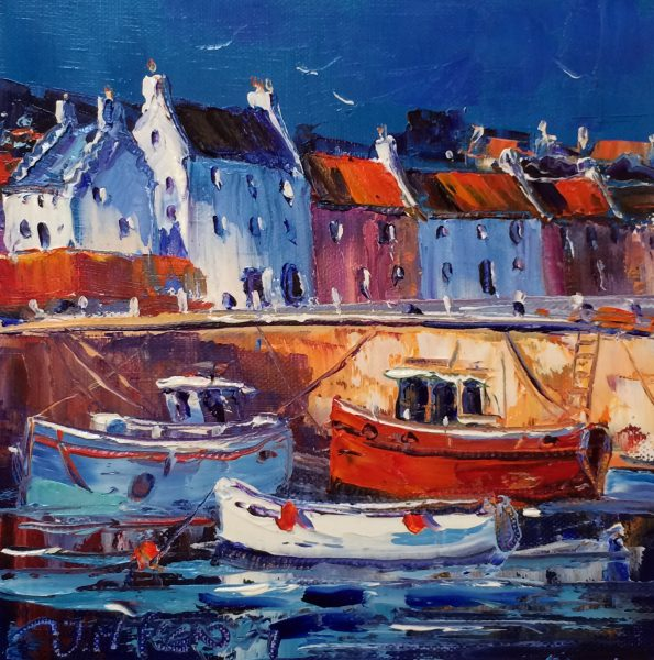 Jean Feeney_Crail Harbour Study_Oils_8x8
