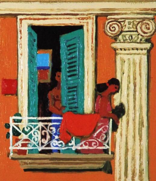 Leon Morrocco_Balcony, Naples_183x157
