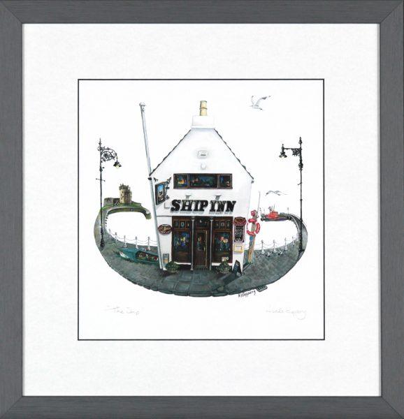 Nicola Kleppang_The Ship_Signed Print_Framed size 13x13_image 8x8