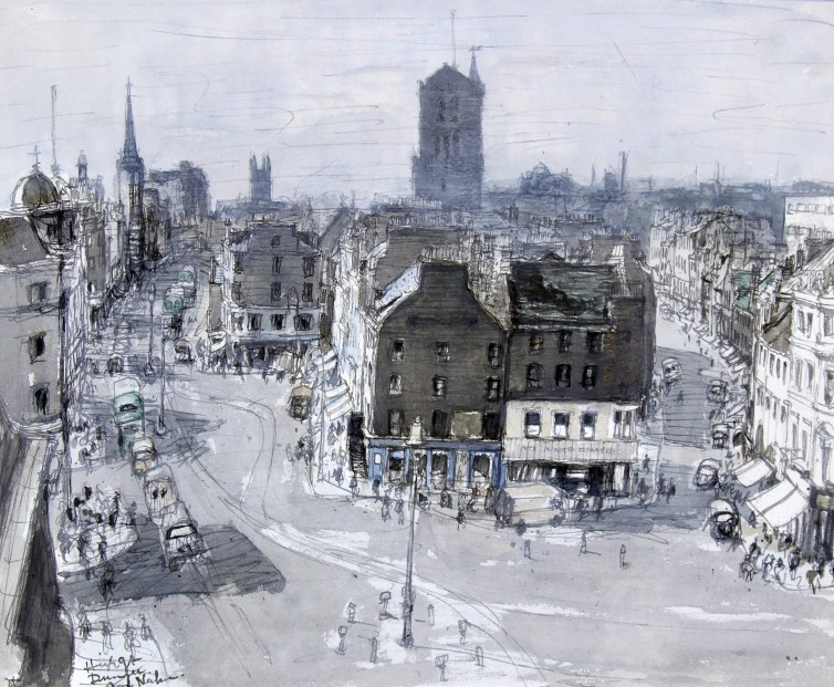 Andrew Neilson_High St Dundee, Circa 1950's_Watercolour_11.5x14