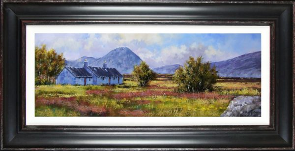 Allan Morgan_Summer, Blackrock Cottage, Glencoe_Original Oils_26x51_Framed