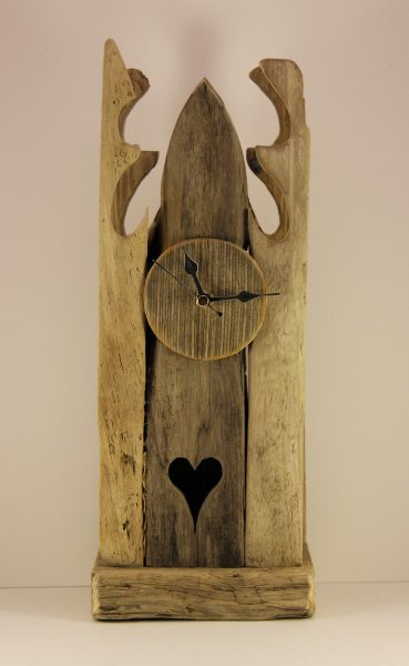 Garry Brown_Original_ ReclaimedWood_3 Section Heart Clock_120