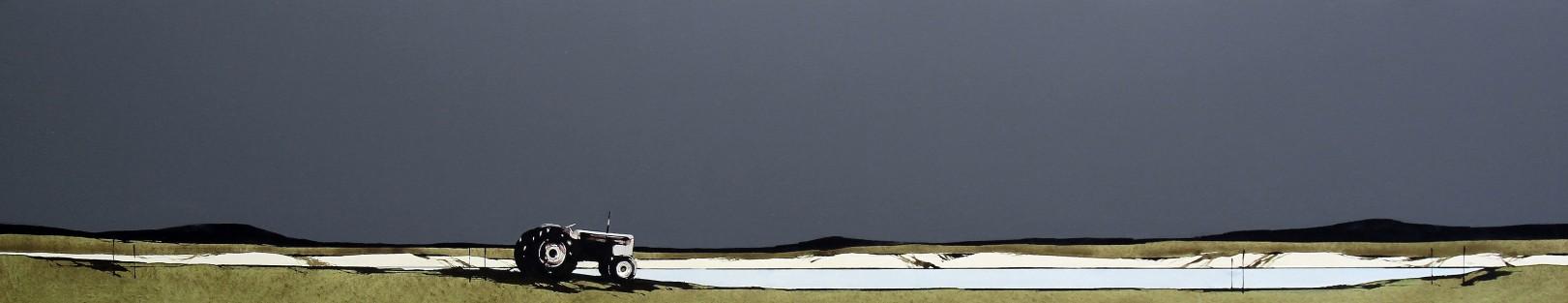 Ron Lawson_Abandoned Tractor_EAS587_Watercolour & Gouache_9x46.5