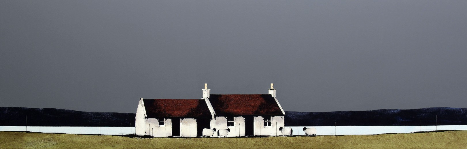 Ron Lawson_Cottage at Ardcharnich, Ullapool_EAS598_Watercolour & Gouache_13x38.5