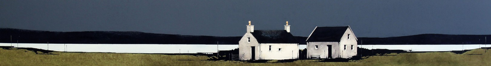 Ron Lawson_Cottages, Gigha I_EAS585_Watercolour & Gouache_5.5x38.5