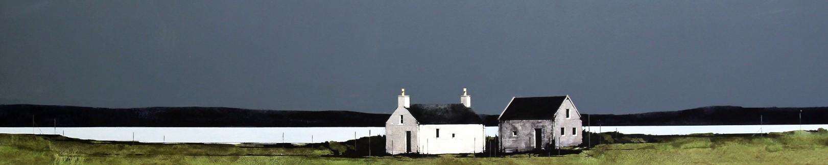 Ron Lawson_Cottages on Gigha II_EAS608_Watercolour & Gouache_5.5x38.5