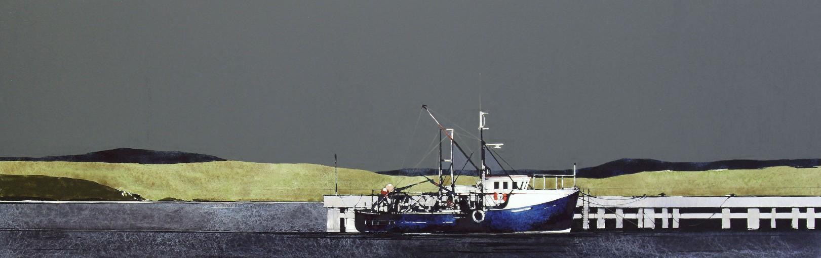 Ron Lawson_Fishing Boat, Gigha_EAS582_Watercolour & Gouache_10.5x32.5