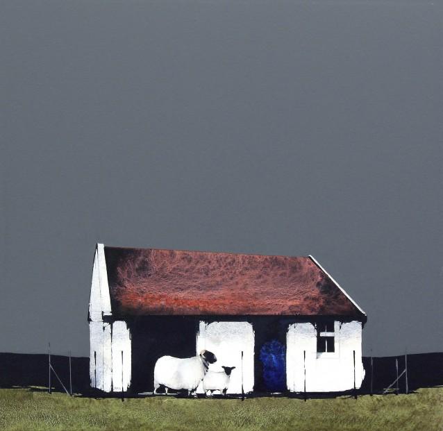 Ron Lawson_Old Shed, Kingscross Point, Arran_EAS596_Watercolour & Gouache_12x12