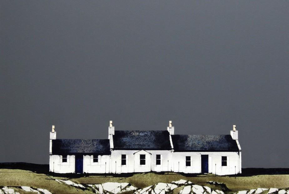 Ron Lawson_Portnahaven Cottages, Islay_EAS589_Watercolour & Gouache_12x17