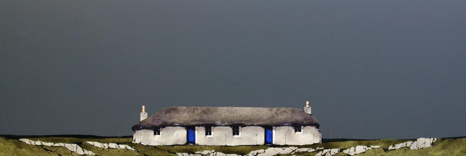 Ron Lawson_Sheila's Cottage, Ulva_Watercolour & Gouache_EAS575_13.5x38.5_VI