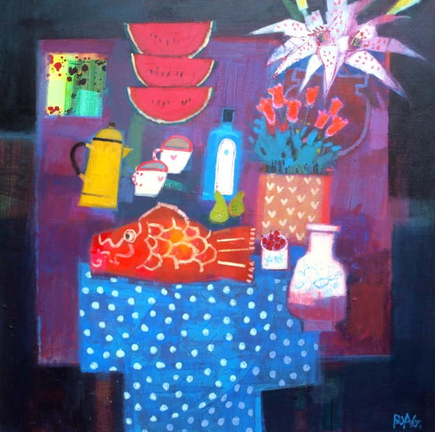 Francis-Boag_Studio-Table-with-Fish-Flowers_39x39_90624