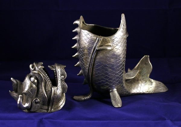 Tibet Silver Dragon Fish Censer_Post 1940_detail