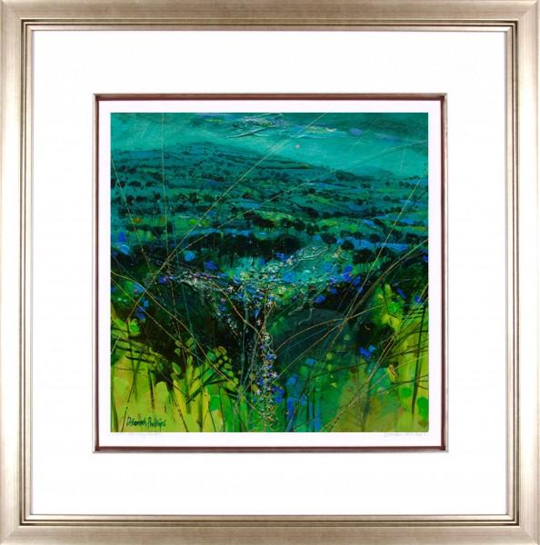 Deborah Phillips_Turquoise Hillside Dusk_25x25_Framed Print