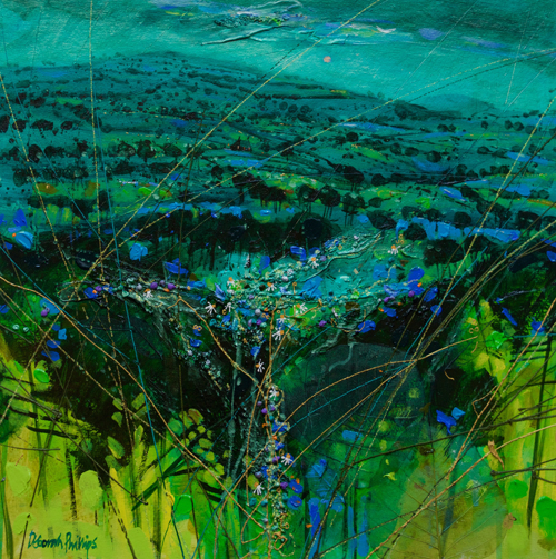 Deborah Phillips_Turquoise Hillside Dusk_Hand Embellished Signed Limited Edition_15x15