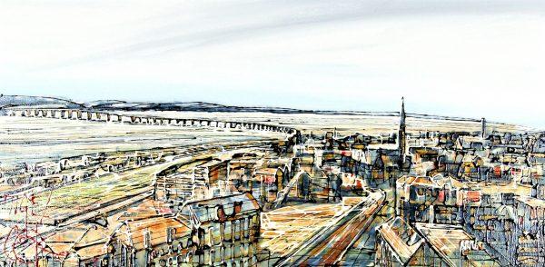 Nigel Cooke_Bridge Across the Tay II_Acrylics_15x40