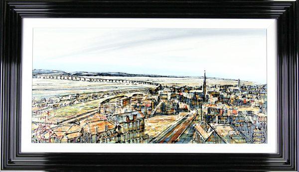 Nigel Cooke_Bridge Across the Tay II_Acrylics_26x44_Framed Original 2