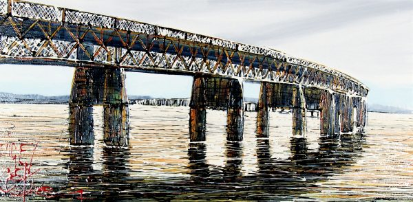 Nigel Cooke_Dundee Rail Bridge_Acrylics_15x40