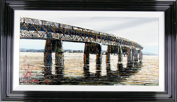 Nigel Cooke_Dundee Rail Bridge_Acrylics_26x44_Framed Original 3