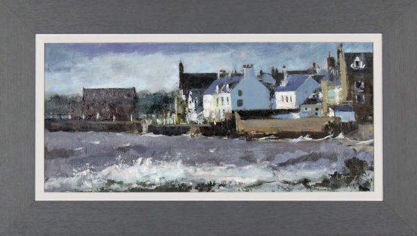 Hugh Bryning_Stormy Day, Broughty Ferry Sea Front_Oils_24.5x14 framed