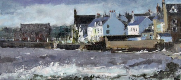 Hugh Bryning_Stormy Day, Broughty Ferry Sea Front_Oils_9x19