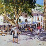 James Lindsay_The Village Square, St. Guilhelm (Herault )_Oils_20x20