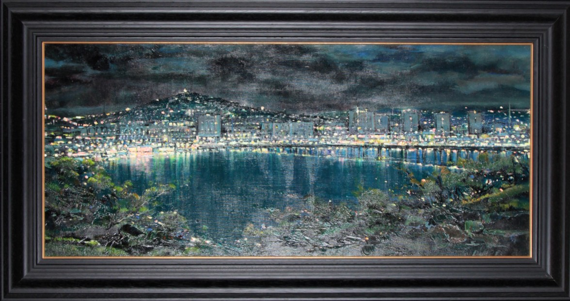 Mario Sanzone_Dundee At Night I_Original Oils_24x46_Framed
