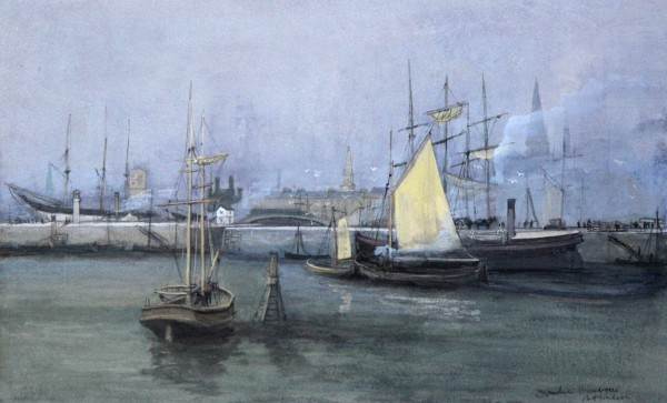 Andrew Neilson_Dundee Harbour I c. 1960-70_Gouache & Watercolour_13x21