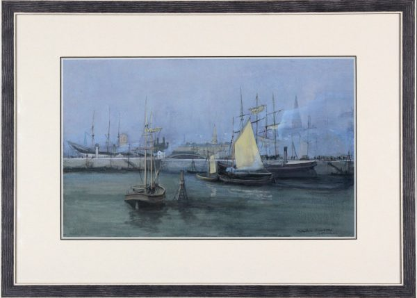Andrew Neilson_Original Gouache and Watercolour_Dundee Harbour I (c1960-70)_Framed Size 21.5x30_image 13x21
