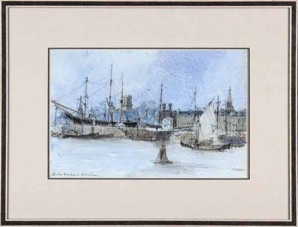 Andrew Neilson_Original Gouache and Watercolour_Dundee Harbour II (c1960-70)_Framed Size 16.5x21.5_image 9.5x14.5