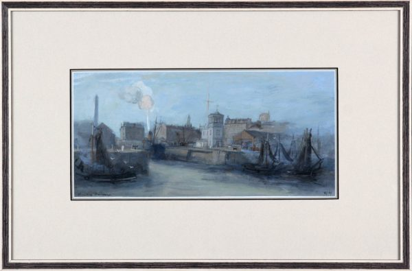 Andrew Neilson_Original Gouache and Watercolour_Dundee Harbour III (c1969)__Framed Size 13.5x20_image 6x13