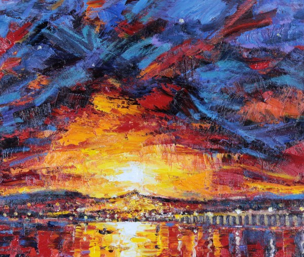 Charles Monteith Walker_Fiery Sunset over Dundee_Oils_20x23