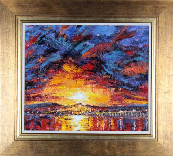 Charles Monteith Walker_Fiery Sunset over Dundee_Oils_Framed 30x33